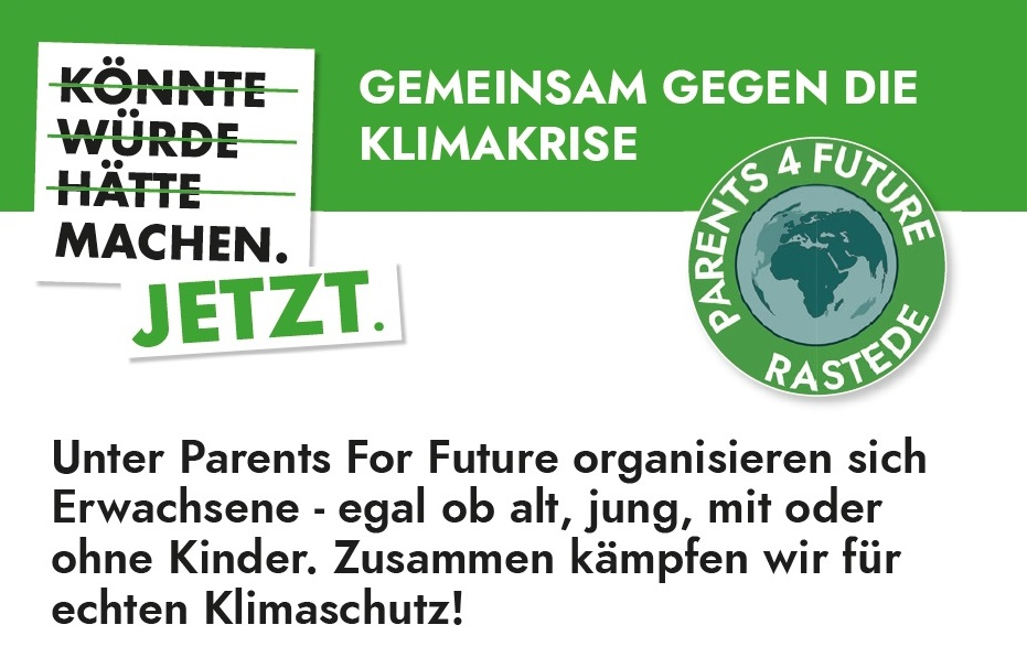 Parents for Future Rastede: Visitenkarte Vorderseite